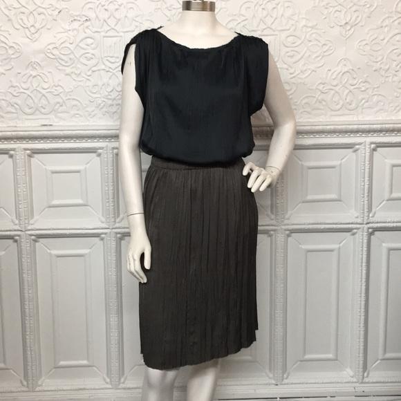 Lanvin Dresses & Skirts - Lanvin Green Top Grey Skirt Pleated Set